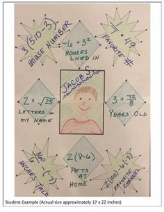 Math About Me - middle school and high school version!