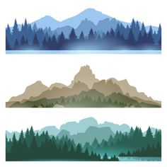 Illustration of Foggy mountains landscape set vector illustration. Smokey rocky panorama with mountains skyline and pine tree forest silhouettes vector art, clipart and stock vectors. Berg Illustration, Mountain Illustration, Forest Illustration, Pine Tree Silhouette, Forest Silhouette, Mountain Silhouette, Landscape Silhouette, Silhouette Painting, Pine Tree Art