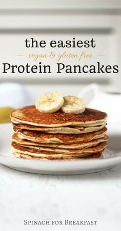 The Easiest Protein Pancakes -- healthy vegan gluten free and grain free and only calls for 4 ingredients! banana and protein powder based recipe is not only the easiest but also tastes the best! A super easy and delicious way to start off your morning Vegan Protein Pancakes, Protein Powder Pancakes, Healthy Protein Snacks, Protein Powder Recipes, Gluten Free Pancakes, Pancakes Easy, Protein Foods, High Protein, Protein Recipes