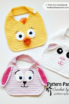 Baby Crochet Patterns: Quick Crochet Ideas for Boys & Girls! - New Ideas Baby Crochet Patterns: Quick Crochet Ideas for Boys & Girls! Cute crochet bibs for babies! Plus over 20 more free crochet patterns for babies, gift ideas and more! Crochet Baby Bibs, Easter Crochet, Crochet Gifts, Baby Blanket Crochet, Baby Knitting, Knitting Ideas, Crochet Pattern Free, Crochet Patterns, Crochet Ideas