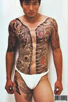 Full Body Tattoo, Body Tattoos, Sleeve Tattoos, Tatoos, Face Painting Tutorials, Face Painting Designs, Large Tattoos, Black Tattoos, Yakuza Style Tattoo
