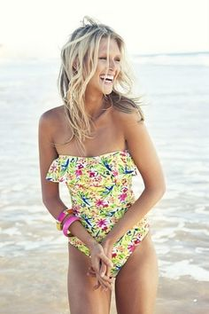 floral ruffled swimsuit