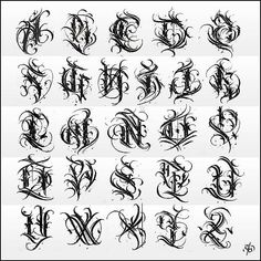 Chicano Tattoos Lettering, Tattoo Lettering Alphabet, Tattoo Lettering Design, Gothic Lettering, Graffiti Lettering Fonts, Graffiti Alphabet, Chicano Style Tattoo, Letter Tattoos, Hand Tattoos