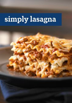 Simply Lasagna – Quite simply, this is the only lasagna recipe you'll ever need. It takes just 20 minutes to prep this cheesy crowd-pleaser for the oven—with KRAFT shredded mozzarella, grated Parmesan, and ricotta cheeses. This classic Italian dish serves 12, so it's perfect for serving at your next get-together with friends and family.