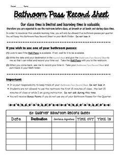 Bathroom Sign Out Sheet First Grade 17 best images about classroom management on pinterest | student