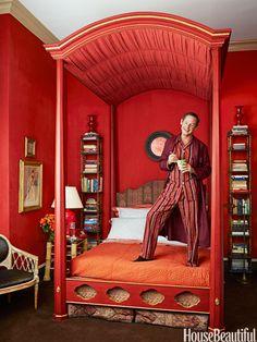 Inside Richard Keith Langham's Grand Red Bedroom