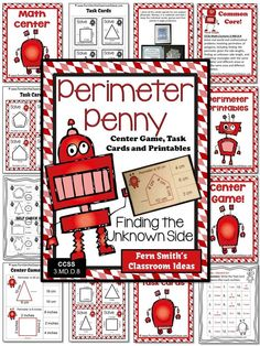 Perimeter Penny Mega Math Pack - Finding the Unknown Side for the Perimeter for 3.MD.D.8 #TPT $Paid