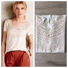 """Anthro Meadow Rue Cap Sleeve Crochet Tee Crochet Bib Tee by Meadow Rue.  Absolutely gorgeous in person. Perfect tee for warmer months. Pima Cotton/Rayon. 25"""" L. Like new. Worn once. Price firm unless bundled In May, all bundles are 20% off!! Anthropologie Tops Tees - Short Sleeve"""