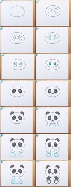 Step by step how to draw a Panda. dessin très simple d'un panda <3