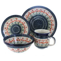 4 Piece Place Setting - includes 1 dinner plate, 1 dessert plate, 1 cereal/soup bowl, and 1 coffee mug Dinner Plate - diameter Dessert Plate - diameter Cereal Bowl - diameter x deep Coffee Mug - 16 oz. Mug Dinner, Dinner Sets, Dinner Ware, Dinnerware Sets For 12, Diy Tableware, Ceramic Bakeware, Pottery Store, Safe Glass, Blue Pottery