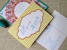 Yellow, Turquoise and Red Vintage Invitations (brown instead of yellow)
