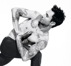"""Adam Levine (yoga   tattoos = yum) I accidentally pinned this to decorating ideas, was gonna move it to """"Hotties"""" board but decided that Adam Levine can decorate me with his body :-)"""