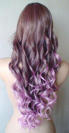 Purple Lavender wig. Long curly fashion wig. Modern by kekeshop