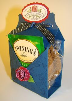 Tea Bag and Cookie Holder by: Qbee's Quest (would also work well for a small gift in place of the cookies and a gift card or postcard greeting instead of the tea bag...I love it)