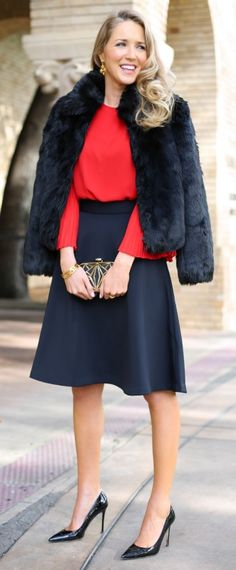 what to wear to your office holiday party - red chiffon pleated sleeve blouse, black satin midi skirt, patent sjp pumps, fur coat, gold and black minaudiere