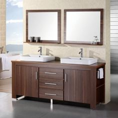 Modern and chic, this Dec Altima bathroom vanity set features an eye catching toffee finish. An included sink and mirror complete this bathroom vanity set. 72 Double Sink Vanity, Vessel Sink Vanity, Double Sink Bathroom, Vanity Set With Mirror, Wood Vanity, Bathroom Sink Vanity, Bath Vanities, Master Bathroom, Oak Bathroom