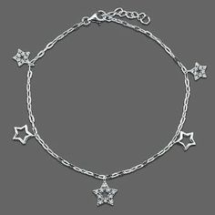 Sterling Silver Anklet Ankle Bracelet Cubic Zirconia CZ Stars Charms BERRICLE. $43.19. Metal : Stamped 925. Stone Type : Cubic Zirconia. Stone Total Weight (ct.tw) : 0.3. Gender : Women. Save 64% Off!