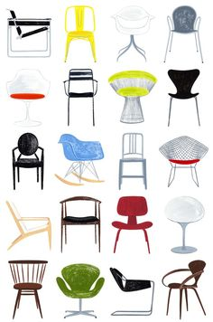 Modern Chairs, and art print, mid century modern Modern Furniture :: Illustration of Modern Chairs – by AliDouglas on Etsy Modern Chairs, Modern Furniture, Furniture Design, Etsy Furniture, Outdoor Furniture, Modern Armchair, Furniture Outlet, Furniture Stores, Discount Furniture