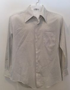 Jayshire FASHIONS FOR MEN 1970's long sleeve white shirt with blue polka dots vintage button front by Vintageroyaleny on Etsy https://www.etsy.com/listing/514569893/jayshire-fashions-for-men-1970s-long