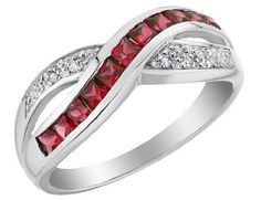 Created Ruby Infinity Ring with Diamonds 2/3 Carat (ctw) in 10K White Gold MyJewelryBox. $299.00. If you are not completely satisfied, you can return any order for refund or exchange within 30 days from the date of shipment - shop with confidence!. Free Signature MyJewelryBox Gift Box