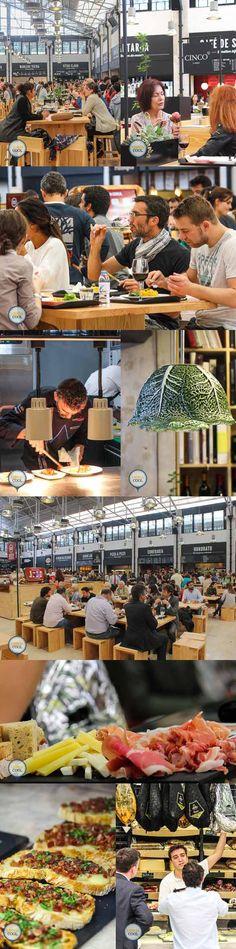 """Le mercado da Ribeira : """" c'est une grande hall restaurée façon industrielle avec une orde de stands où vous prenez votre plat et rejoignez une table du milieu façon bonne franquette. On vous remet le biper qui sonne une fois que c'est près"""""""