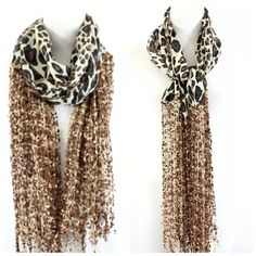 "B39 Lurex Confetti Brown Black Leopard Print Scarf Lurex Leopard Print Scarf ‼️‼️ PRICE FIRM ‼️‼️  This is such a gorgeous scarf!  Leopard print mixed with lurex confetti!  100% viscose Dress up any outfit day or night.  Also available in other colors.  Please check my closet for many more items including jewelry and designer scarves.  Length 72""  Width 20""  Can be made wider by stretching the fabric and it still would not look stretched out. Custom Accessories Scarves & Wraps"