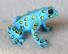 Frog - Bright Baby Blue with Yellow & Black Spots #aqua #turquoise