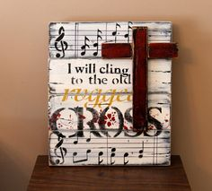 Items similar to Old rugged cross, rustic wooden sign, distressed wood, shabby chic, country chic. on Etsy Wooden Crosses, Crosses Decor, Wall Crosses, Painted Crosses, Wooden Diy, Wooden Signs, Sheet Music Crafts, Old Rugged Cross, Christian Crafts