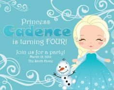 Frozen Inspired Princess Snowflake Elsa Birthday Invitation