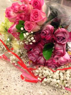 Pretty roses with babies breath
