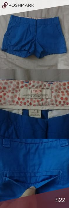 """J.Crew Chino Shorts These blue J. Crew shorts have only been used once. Back pocket still sewn shut. Runs larger than a regular size 2. 30"""" across the waist. J. Crew Shorts"""