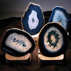 Portacandele con fetta agata blu