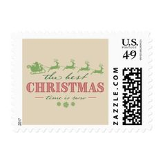 The Best Christmas Time Is Now | Postage Stamp - Xmascards ChristmasEve Christmas Eve Christmas merry xmas family holy kids gifts holidays Santa cards