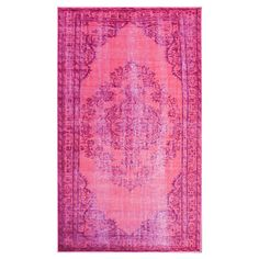 Add a pop of bold color to your dining room or workspace with this eye-catching pink rug, featuring an overdyed design for boho-chic appeal....