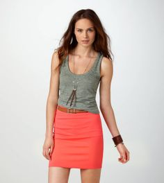 AEO  I like the tank paired with the skirt, but would probably pick a white tank instead. So casual and comfy.