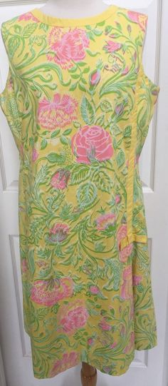 Vintage 1960 Lilly Pulitzer The Lilly Floral 100% Cotton Shift Metal Zipper L | eBay