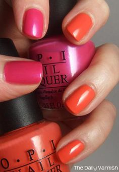 Pink and orange nails from The Daily Varnish.