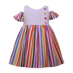 Bonnie Jean Short Sleeve Striped A-Line Dress - Baby Girls enfant Bonnie Jean Short Sleeve Striped A-Line Dress Girls - JCPenney African Dresses For Kids, Latest African Fashion Dresses, Dresses Kids Girl, Kids Outfits, Frock Patterns, Baby Girl Dress Patterns, Baby Dress Design, Kids Gown, Sewing Kids Clothes