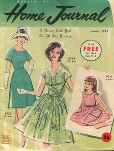 Dress patterns, knitting patterns, girl's dress and home style of the 60s.  Home Journal January 1963