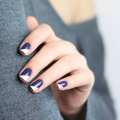 white and blue colour blocking nail art - available at Douglas.