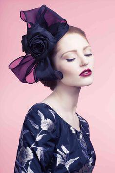 Rachel Trevor-Morgan Millinery - S/S 2014. Silk organza bow headdress with flower.