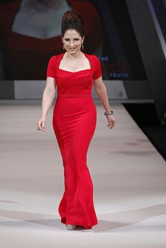 Gloria Estefan walks the runway in a #red #dress by Narciso Rodriguez for The Heart Truth's 2012 Red Dress Collection Fashion Show #fashion #nyfw
