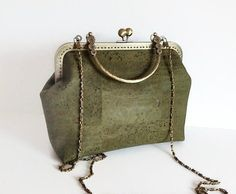 Green Cork Handbag Eco Friendly Bag Genuine Cork by MyCottonHouse