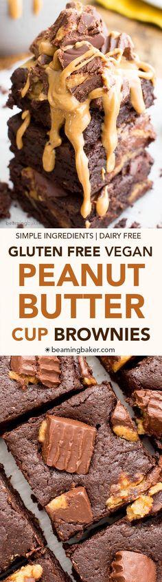 Gluten Free Vegan Peanut Butter Cup Brownies (V, GF, DF)