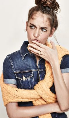 Current hair obsession -- a messy top knot  and bold brows