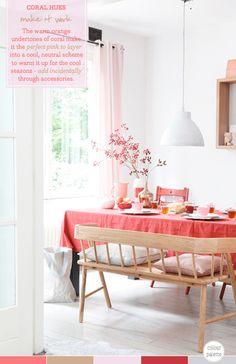 Palette Addict: Coral Dining Room Decor Idea. Via brightbazaarblog.com