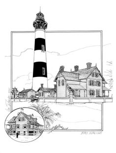 Lighthouse Sketch, Lighthouse Art, Morris Island, Lighthouse Lighting, Thing 1, Ink Pen Drawings, Coloring Books, Colouring, All Poster
