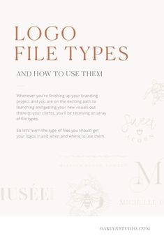 Feb 2019 - Whenever you're finishing up your branding project you'll be receiving an array of file types. What are those type of files you should get your logos in and how do you use them? Branding Your Business, Creative Business, Business Tips, Online Business, Corporate Design, Branding Design, Bakery Branding, Graphic Design Tips, Logo Design Inspiration