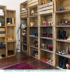 Recycled wooden crates stacked to create a shelving system have been cleverly used as shoe storage in this bedroom. The dark wooden floor and traditional red rug add to the vintage feel. - LOVE this idea for shoe storage! Pallet Crates, Wooden Crates, Wine Crates, Pallet Boxes, Wood Pallets, Vintage Crates, Pallet Wine, Diy Pallet, Pallet Ideas