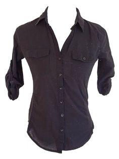 WOMEN'S HALF SLEEVE BLACK BUTTON DOWN COLLAR SHIRT SEMI-STRETCH SIZE SMALL #ACTIVE #ButtonDownShirt #Casual